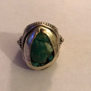 Antique 925 green turquoise ring